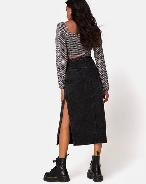Lyra Midi Skirt in Black Stone Wash