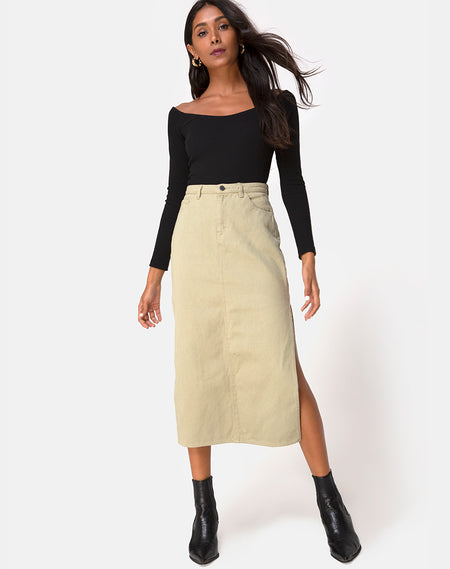 Saika Midi Skirt in Flock Ditsy Leopard Taupe by Motel