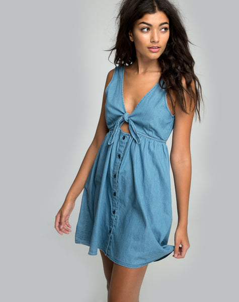 Lyset Cutout Dress in Summer Wash Denim Chambray by Motel