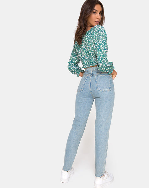 Lancer Crop Top in Floral Field Green by Motel
