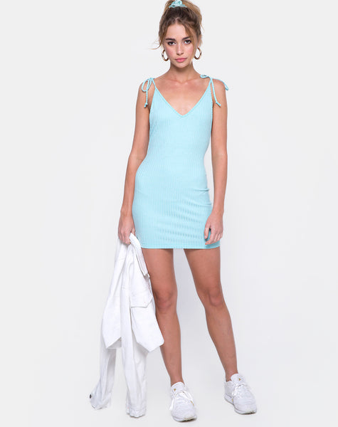Mae Bodycon Dress in Ribbed Powder Blue by Motel