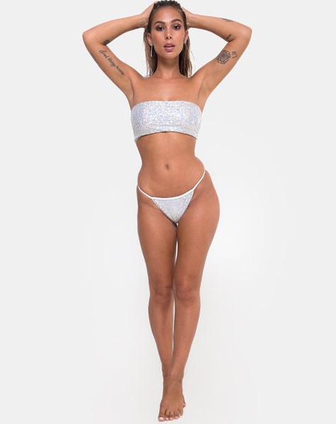 Maise Bottom Bikini in Sequin Diamond Shine by Motel