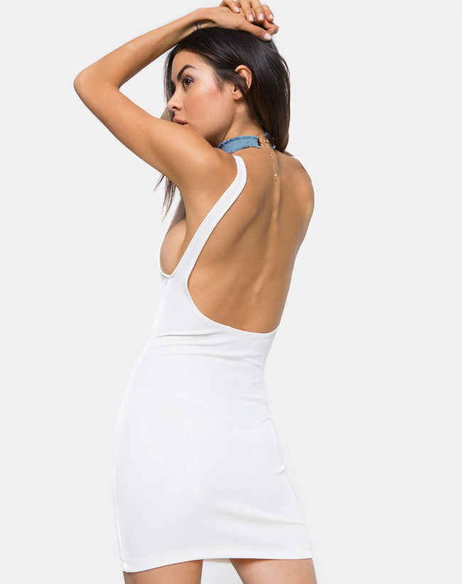 Maiza Bodycon Dress in Baby Rib Ivory by Motel
