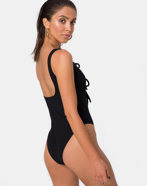 Makana Swimsuit in Crinkle Rib Black by Motel