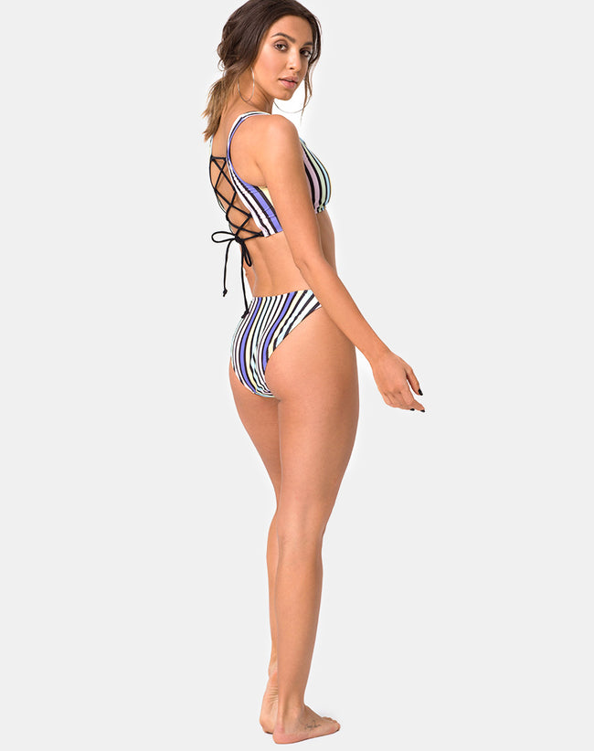 Malee Bikini Bottom in New Stripe by Motel