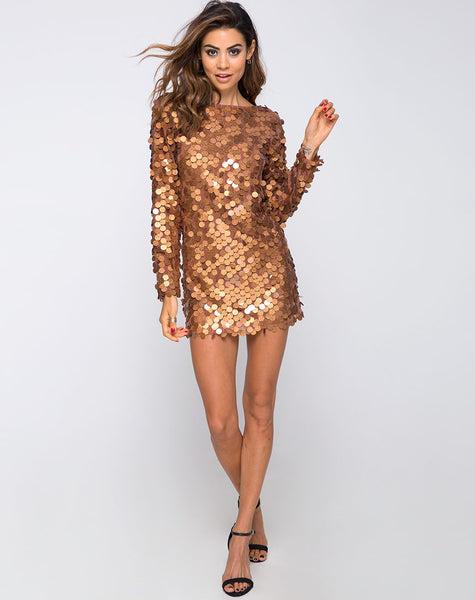 Malia Dress in Disc Sequin Bronze shimmer by Motel
