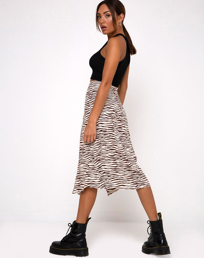 Malika Midi Skirt in Easy Tiger Cocoa
