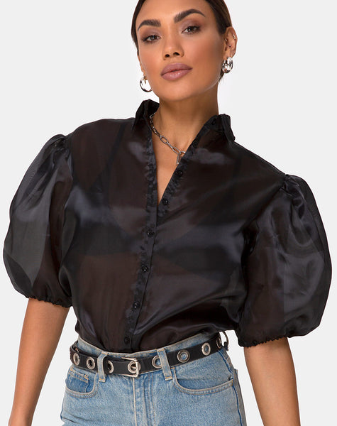 Maloney Blouse in Organza Black