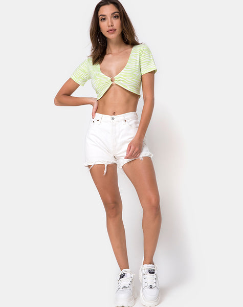 Malz Crop Top in Classic Zebra lime by Motel