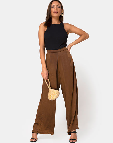 Zoven Trouser in Mix Stripe Brown by Motel