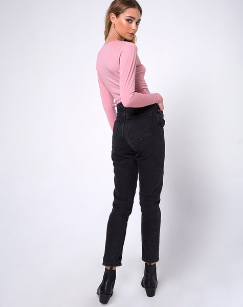 Marche Wrap Top in Dusky Pink by Motel