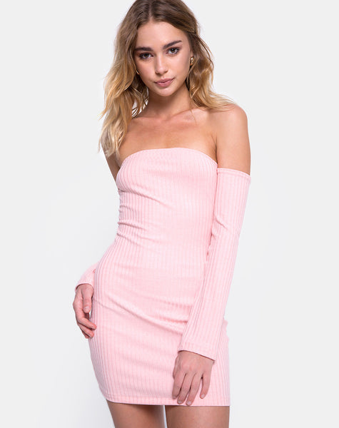 Marina Bodycon Dress in Ribbed Blush