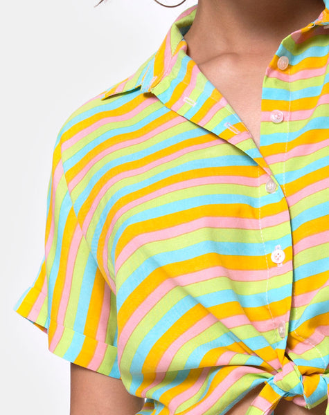 Gapo Tie Up Shirt in Sweet Stripe