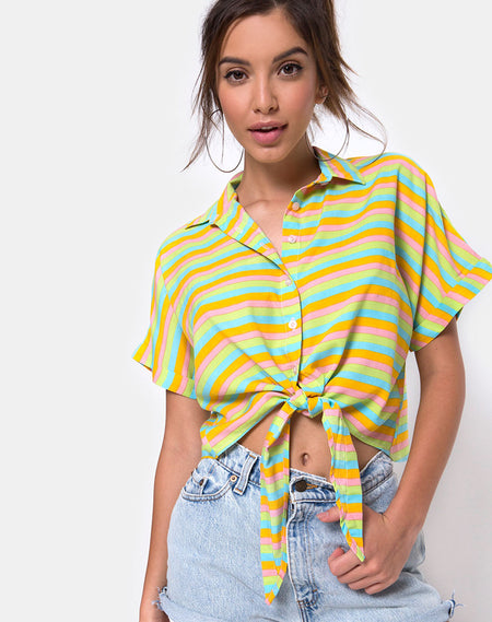 Shae Crop Top in Falling Rose Yellow by Motel