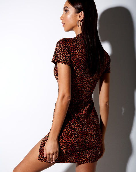 Marlin Bodycon Dress in Ditsy Leopard Orange