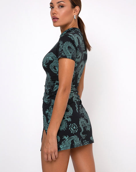 Marlin Bodycon Dress in Dragon Flower Black and Mint