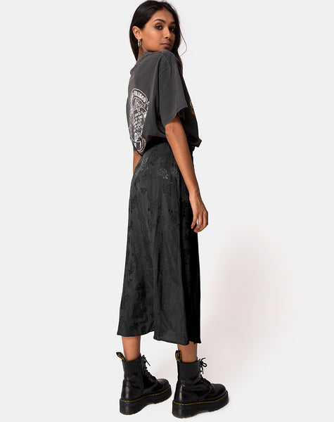 Marni Midi Skirt in Satin Rose Black by Motel