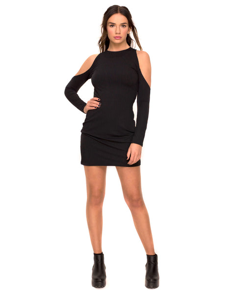 Marsha Cold Shoulder Dress in Black Rib by Motel