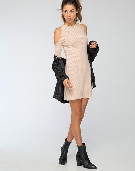 Marsha Cold Shoulder Dress in Nude Rib by Motel