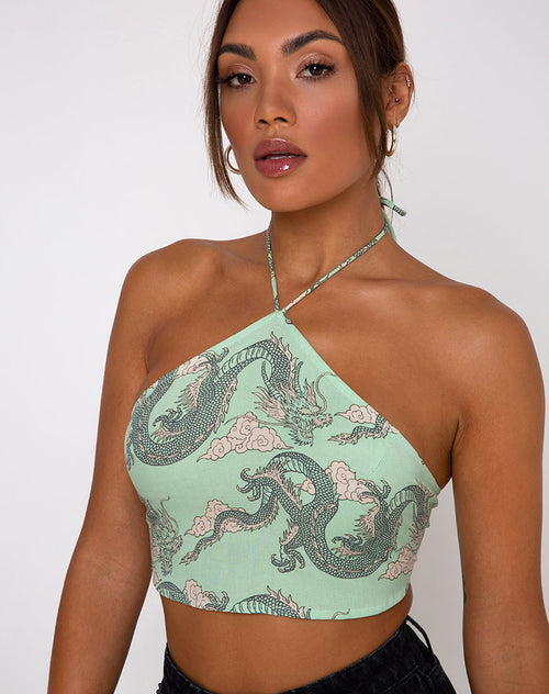Maudy Crop Top in Chinese Dragon Neo Mint by Motel