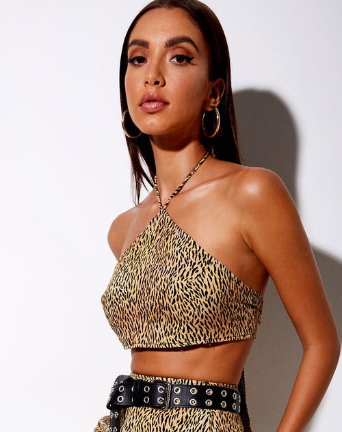 Maudy Crop Top in Mini Tiger Brown