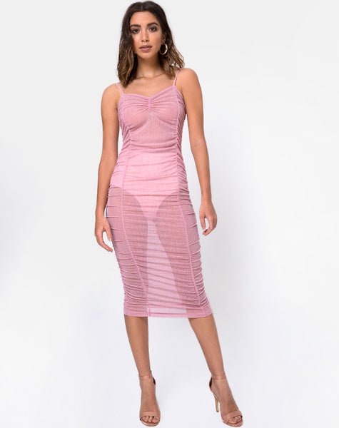 Mauna Bodycon Dress in Sheer Knit Blush