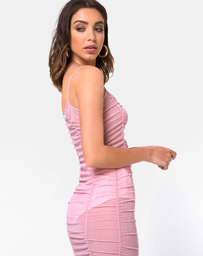 Mauna Bodycon Dress in Sheer Knit Blush by Motel