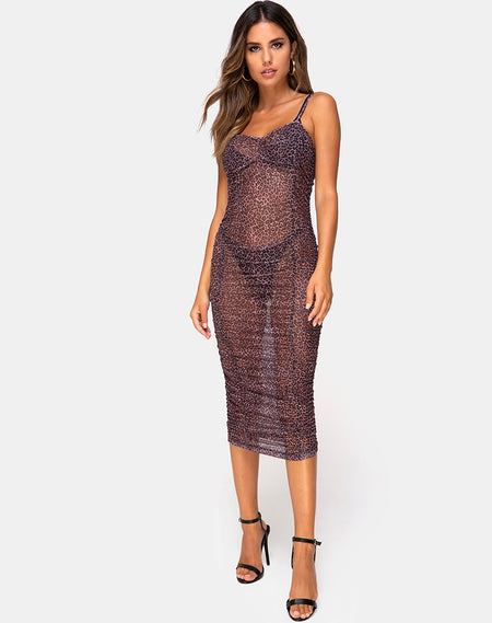 Batis Maxi Dress in Crystal Net Black by Motel