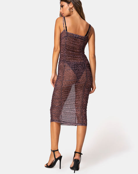 Mauna Maxi Dress in Rar Leopard Mesh by Motel