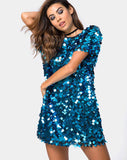 Mausi Dress in Square Sequin Teal by Motel