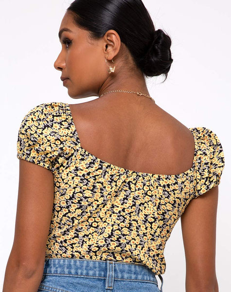 Mazu Top in Mini Bloom Yellow by Motel