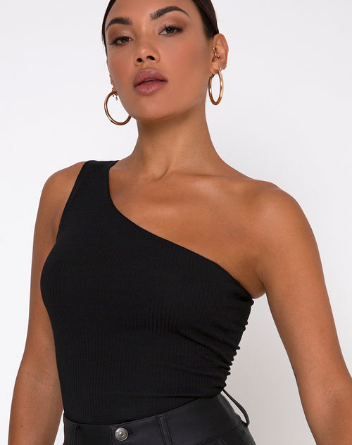 Medi One Shoulder Top in Black