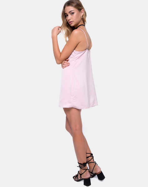 Medina Slip Dress in Satin Blush by Motel