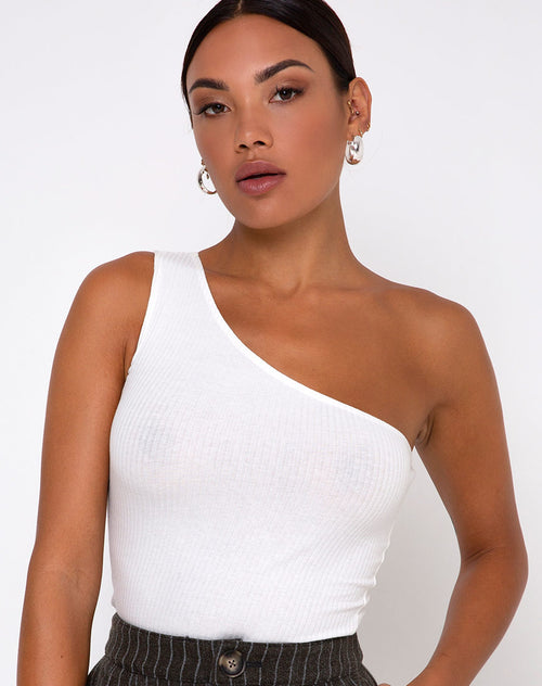 Medi One Shoulder Top in Ivory