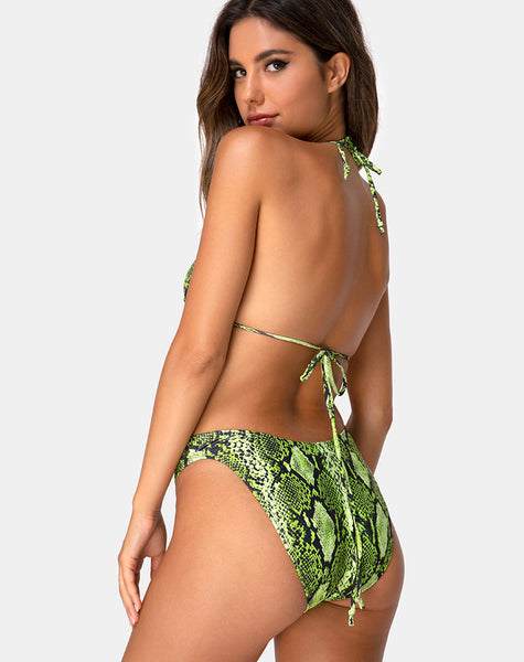 Meeka Bikini Bottom in Slime Lime Snake by Motel