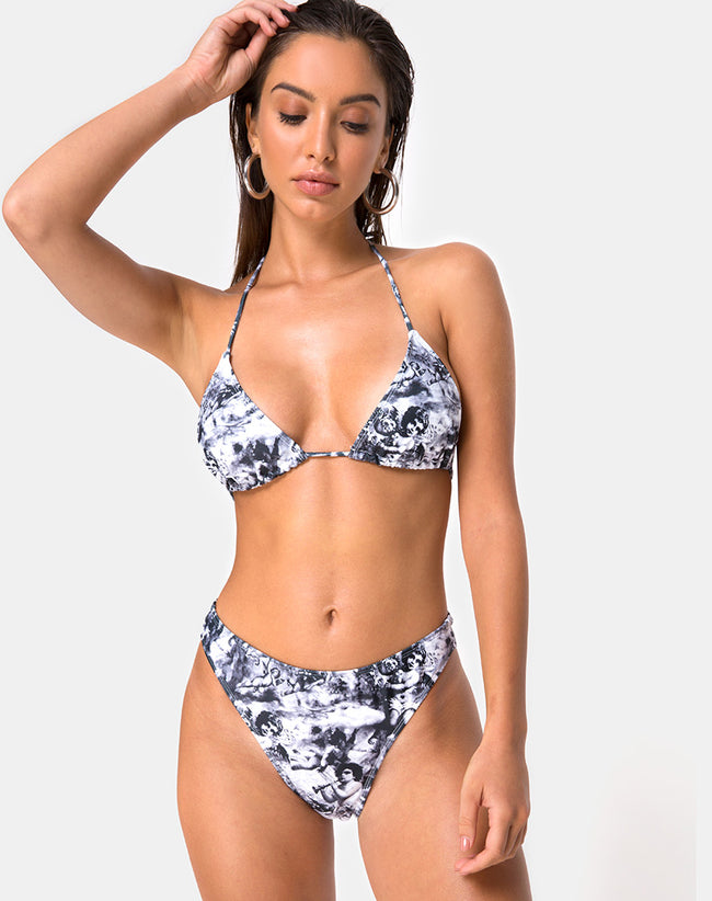 Meeka Bikini Top in Cherub Grey by Motel