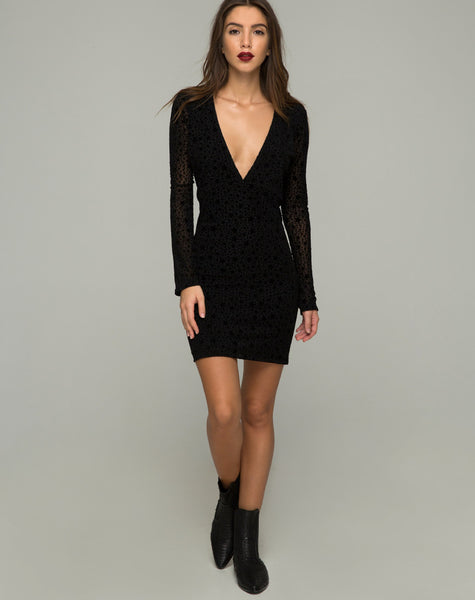 Meli Plunge Dress in Flock Star Lace Black by Motel