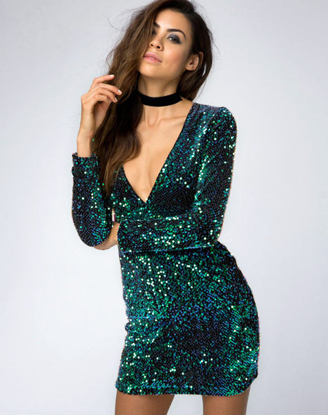 Meli Plunge Neck Bodycon Dress in Green Iridescent Sequin