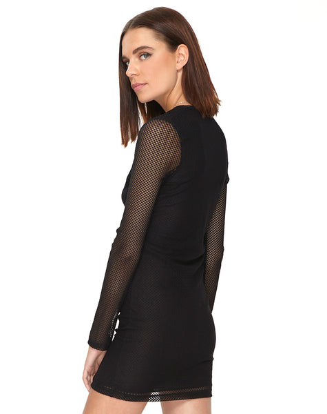 Mellina Bodycon Dress in Mesh Black by Motel