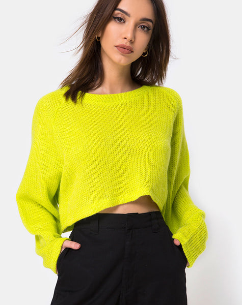 Melvie Cropped Sweater in Lime
