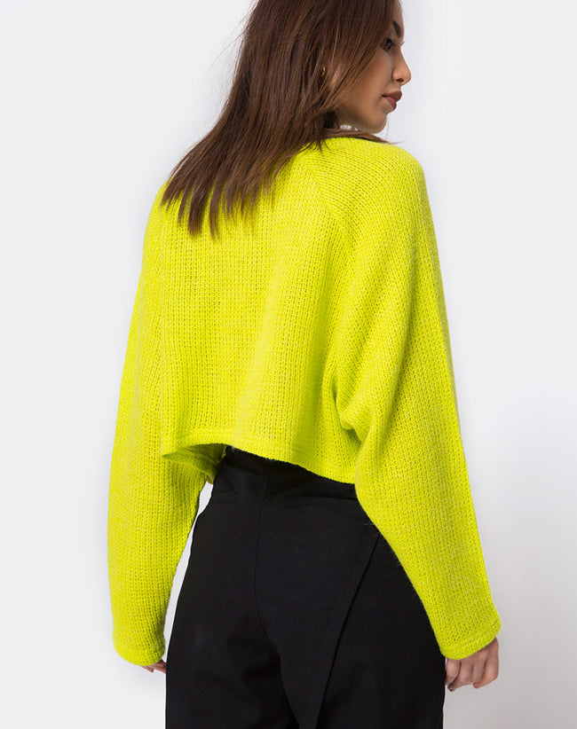 Melvie Cropped Sweater in Lime by Motel