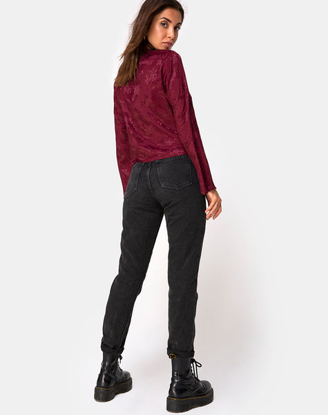 Merida Top in Satin Rose Burgundy by Motel