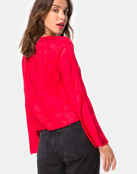 Merida Blouse in Satin Red By Motel