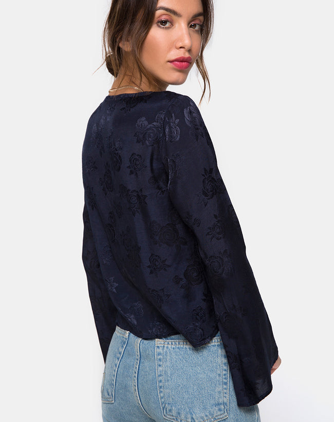 Merida Blouse in Satin Rose Navy by Motel