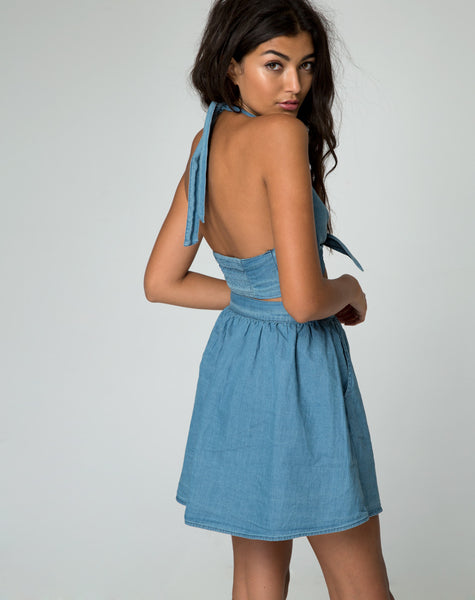 Thione Skater Skirt in Summer Wash Denim Chambray by Motel