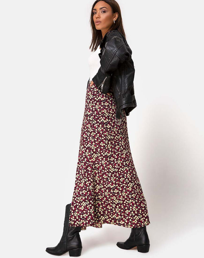 Mica Maxi Skirt in Floral Field Plum