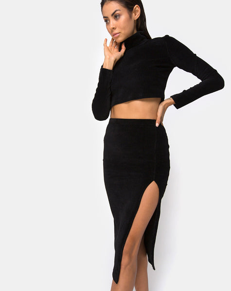 Cheri Midi Skirt in Rib Black