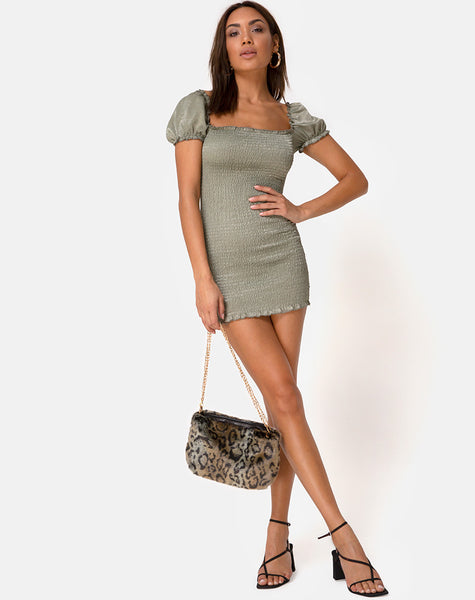 Milina Dress in Satin Khaki