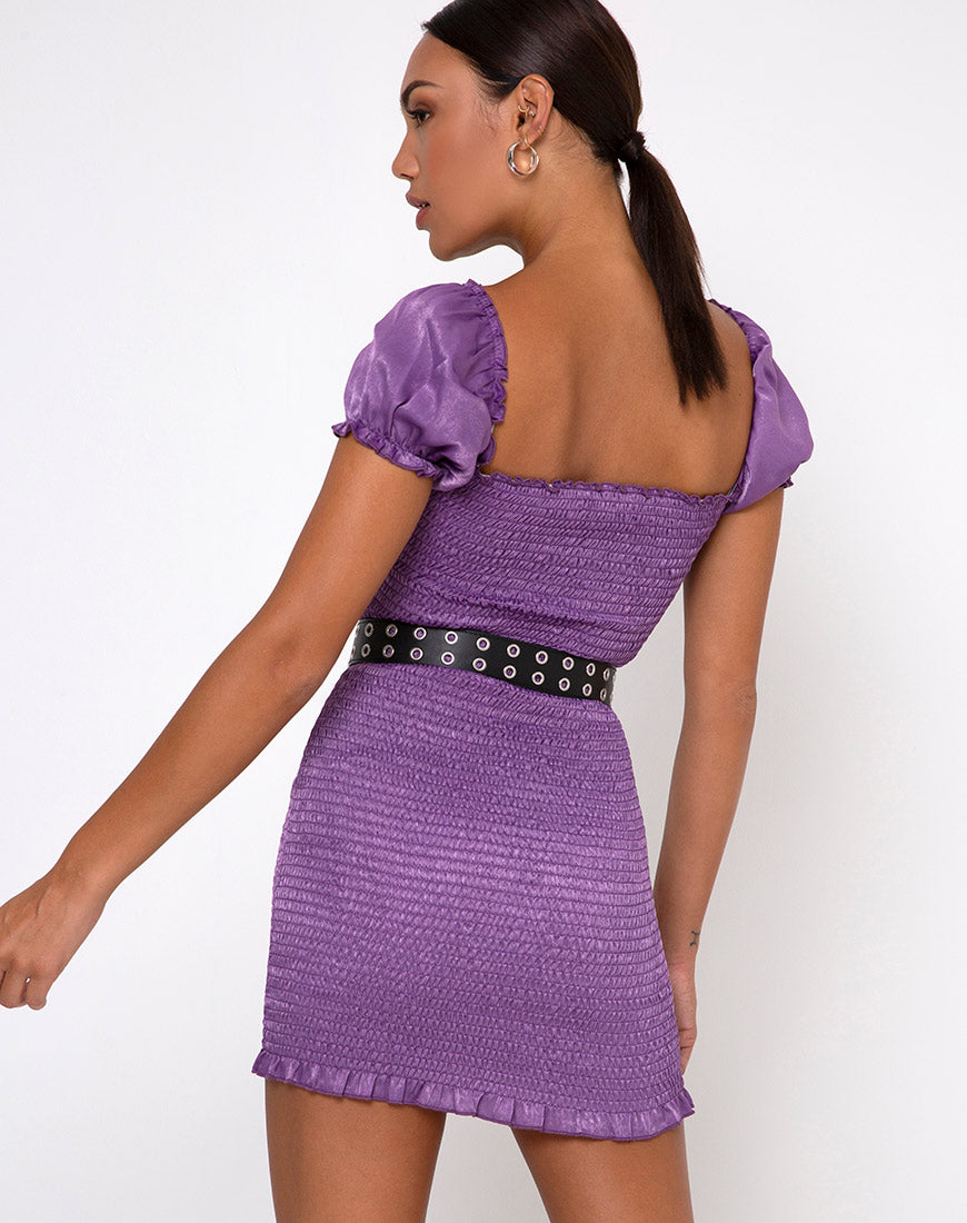 Milina Mini Dress in Hammered Satin Lavender