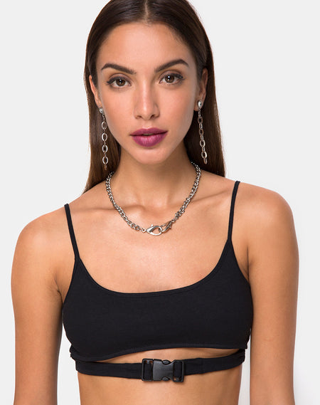 Bliss Crop Top in Mesh Black Butterfly by Motel
